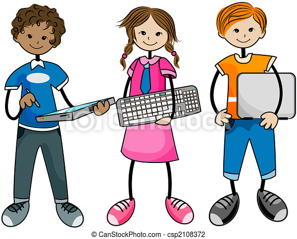 Clip Art of Computer Kids csp2108372 - Search Clipart ...