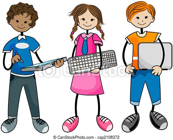 Resultado de imagem para imagem de crianças no computador em desenhos