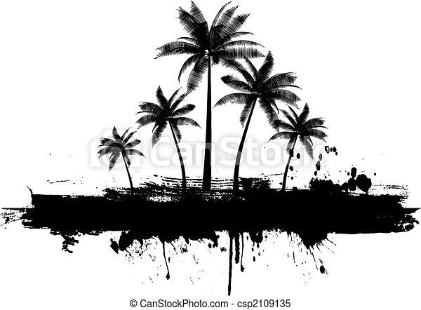 Grunge palm trees - csp2109135