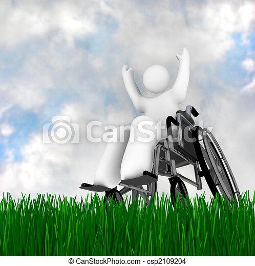 Wheelchair Person Enjoying Outdoors - csp2109204