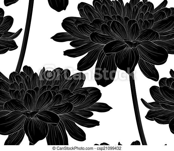 vecteurs de beau, stem., seamless, arrière-plan noir, dahlia