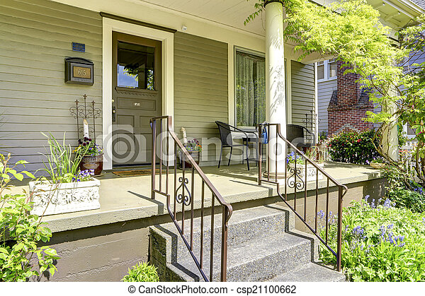 House column entrance porch with stairs
