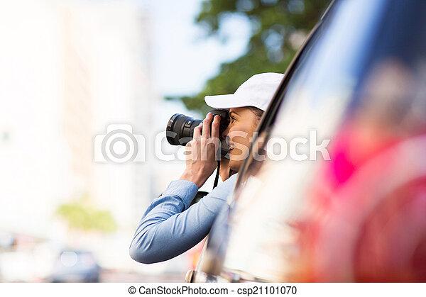 female tourist on road trip