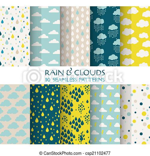 Illustrations vectoris es de papier peint 10 nuages seamless pluie motifs - Papier peint motief graphique ...