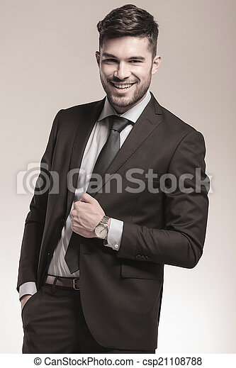 young relaxed business man laughing