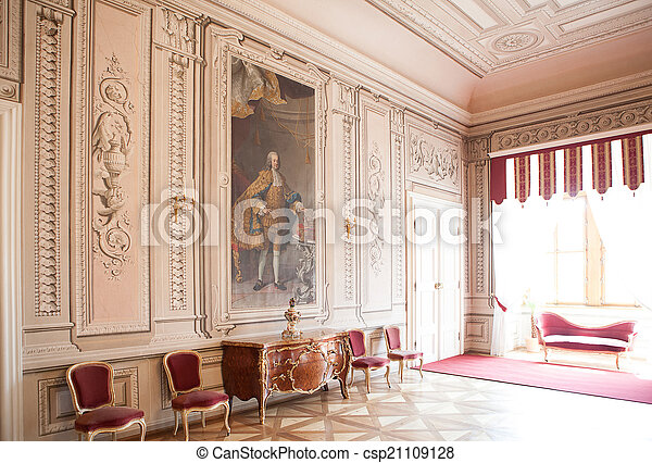 luxury interior chateau in europe, old furniture