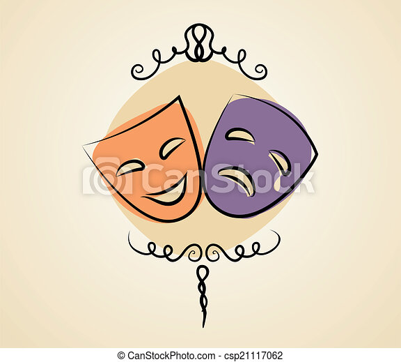 comédia, teatro, máscaras tragédia - csp21117062