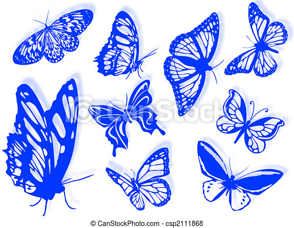 Butterfly Silhouettes Stock Illustration