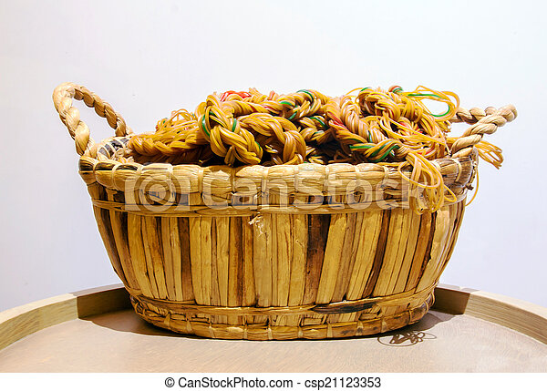 rope from circle rubber in the rattan basket on wood circle tabl