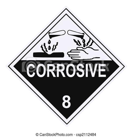 verenigd, Staten, afdeling, vervoer, corrosief, waarschuwend, Etiket ...