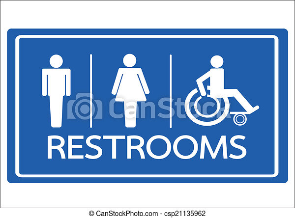 Clip Art Vector of Restroom Symbol Male Female and Wheelchair ...