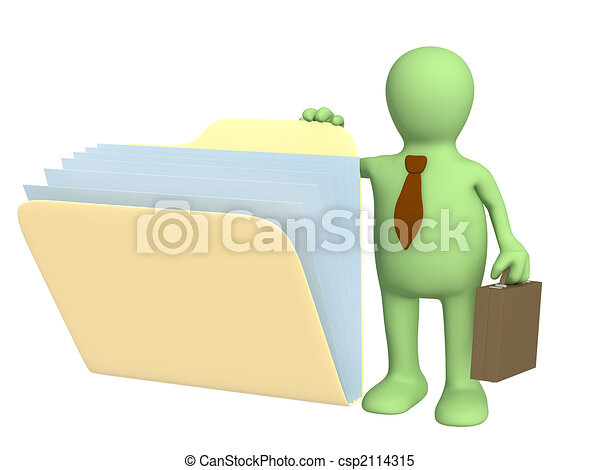3d puppet, opening  folder with documents - csp2114315