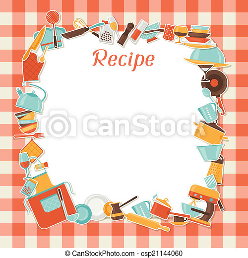 Clip Art De Vectores De Receta Cocina Utensils Plano