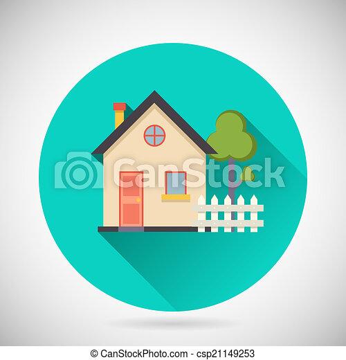 Clipart vectorial de verdadero, edificio, largo, cerca, propiedad ...