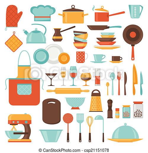Ilustraciones vectoriales de icono conjunto utensilios for Utensilios de restaurante