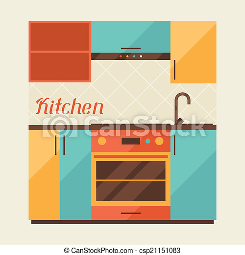 Card with kitchen interior in retro style. - csp21151083