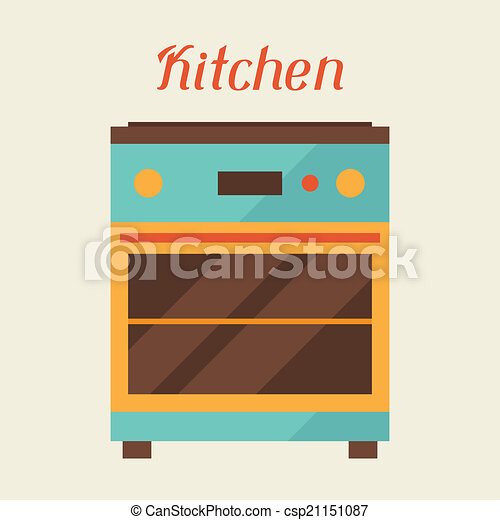 Card with kitchen oven in retro style. - csp21151087