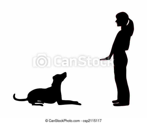 Dog training (obedience): command sit down - csp2115117