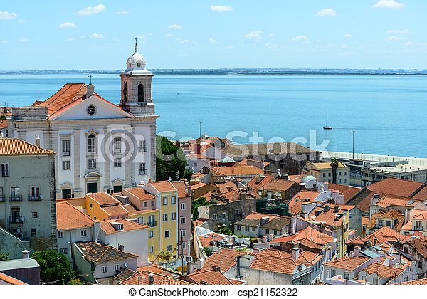 Rooftops and church of Santo Estevao, Lisbon (Portugal) - csp21152322