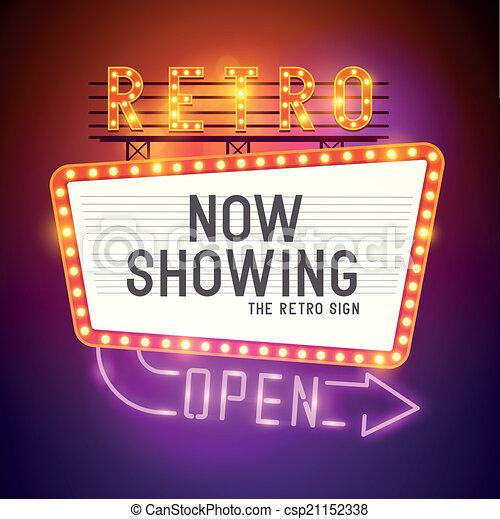 Retro Showtime Sign Vector - csp21152338