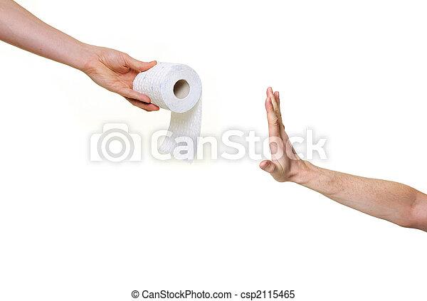 hand rejecting toilet paper - csp2115465