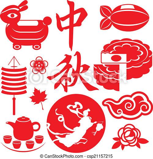 Vector Clip Art of Mid Autumn festival concept icons set ...