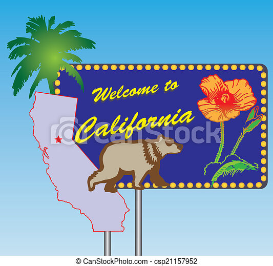 Clipart Vector of Welcome to California - Road stand Welcome to ...
