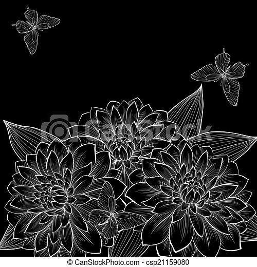 witte achtergrond tekening bloemen - photo #45