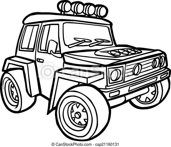 Disegni di bordo cartone animato jeep illustrazione for Jeep da colorare