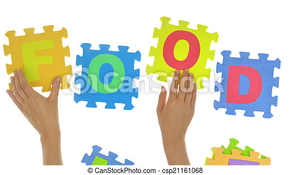 """Hands forming word """"Food"""" with jigsaw puzzle pieces isolated - csp21161068"""