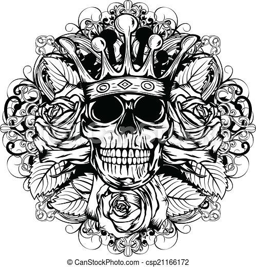 Vector Illustratie Van Schedel Corona Roos