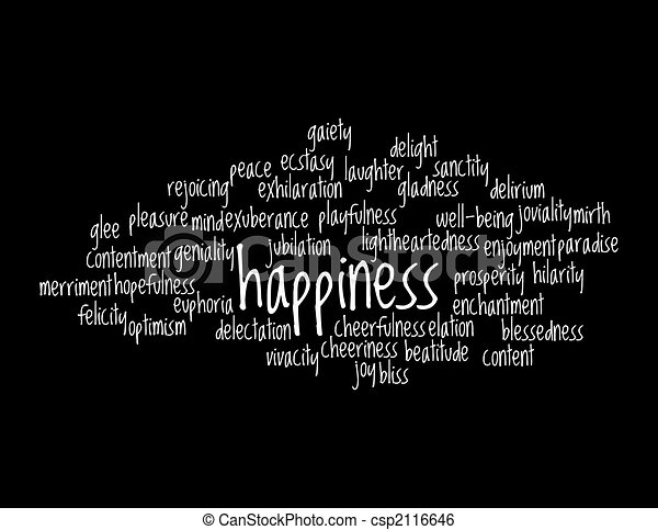 Collage of various synonyms for happiness - csp2116646