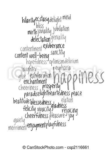 Collage of various synonyms for happiness - csp2116661