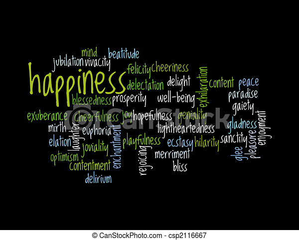 Collage of various synonyms for happiness - csp2116667