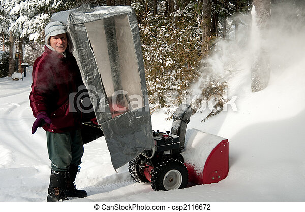 Stock Photo of man behind snow blower - senior in winter suit ...