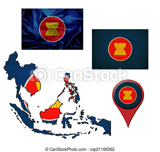 地図, グランジ, ポインター, 旗, 共同体, Asean, 経済ストックフォト