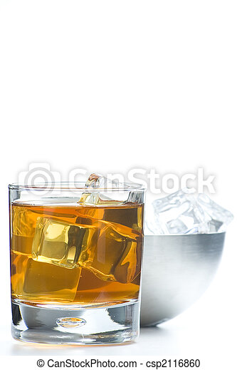 alcoholic beverage whith ice cubes - csp2116860