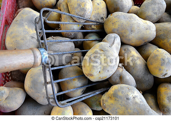 potatoes raw vegetables food for sale at farmers market. Backgro