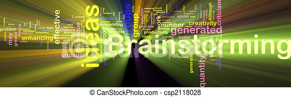 Brainstorming word cloud glowing - csp2118028