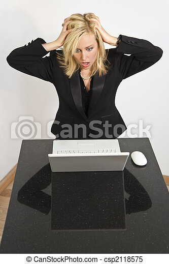 Beautiful Woman Having Computer Problems - csp2118575