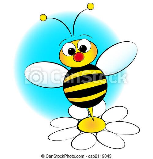 Bee and daisy - Kid Illustration - csp2119043