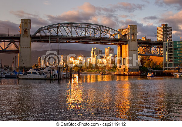 Vancouver - Burrard Bridge at sunset - csp2119112