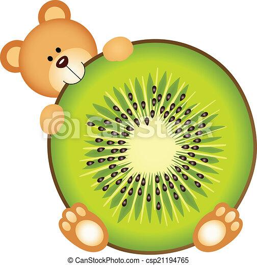 Kiwi Slice Drawing Teddy Bear Eating Kiwi Slice