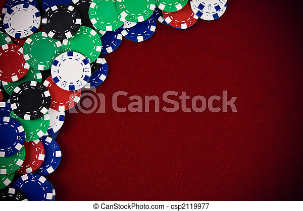 Gambling chips on purple background - csp2119977