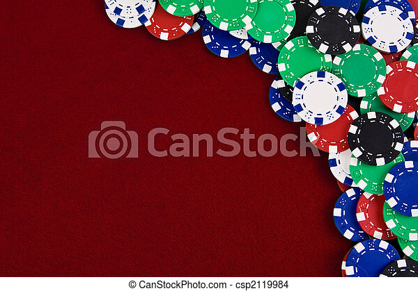 Gambling chips red background - csp2119984