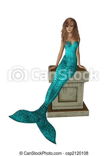Aqua Mermaid Sitting On A Pedestal - csp2120108