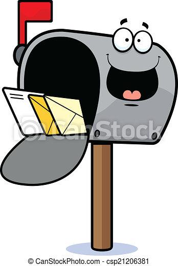 Vector of Cartoon Mailbox Happy - Cartoon illustration of a mailbox ...