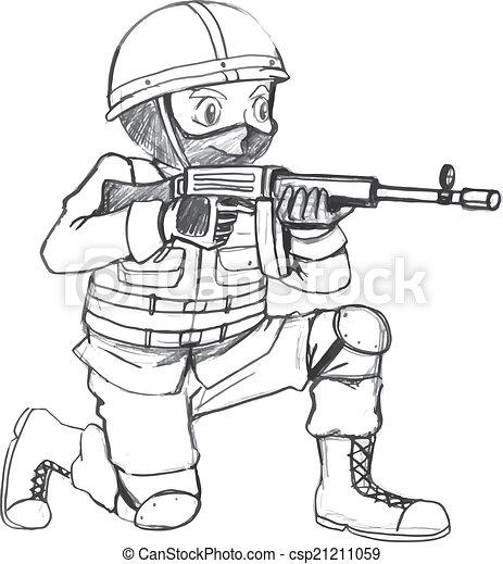 Vecteur clipart de soldat croquis fusil illustration de a croquis de csp21211059 - Dessin de soldat ...