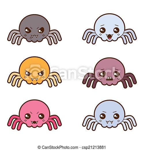 Vettore di kawaii differente set espressioni ragni for Immagini disegni kawaii