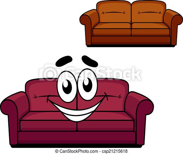 Vector clip art de feliz caricatura tapizado sof for Imagenes de sofas comodos